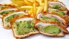 Rántott hús brokkolival, sajttal, sonkával töltve Poultry, Quiche, Zucchini, Sushi, Sandwiches, Food And Drink, Chicken, Vegetables, Cooking