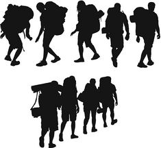 Hikers Silhouette Png, Art Poses, Survival Skills, Bushcraft, Places To Visit, Drawings, Illustration, Dena, Painting