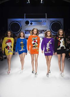Looney Tunes girl gang at #Moschino Fall 2015 #MFW #WTF????