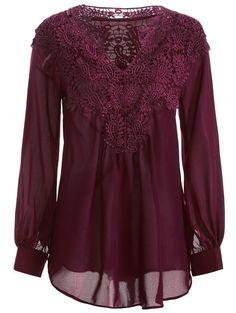 Crochet Detail Long Sleeve Blouse in Wine Red | Sammydress.com