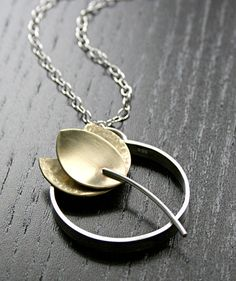 Tulip Flower Pendant Necklace in Silver and Brass