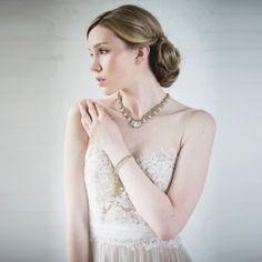 Crocheted Swarovski teardrop crystal and opaline stones necklace | St Erasmus