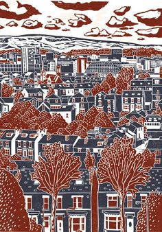 James Green, Sheffield View number 4, lino print, linocut
