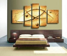 hand made canvas wall painting abstract Ancient character Oracle civilization oil paintings 5 panel picture for living room wall(China (Mainland))