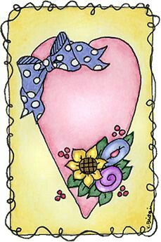 Heart with blue bow and flowers