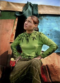 Young Roma gypsy woman, by Peter van Beek.