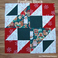 Vintage Christmas Sampler – Fireflies Block | Sew BitterSweet Designs-by Melissa. It is in the Encyclopedia of Pieced Quilt Patterns and is attributed to James.  It is a fun block and great for featuring a printed fabric. This is the next block in my Vintage Christmas Sampler.