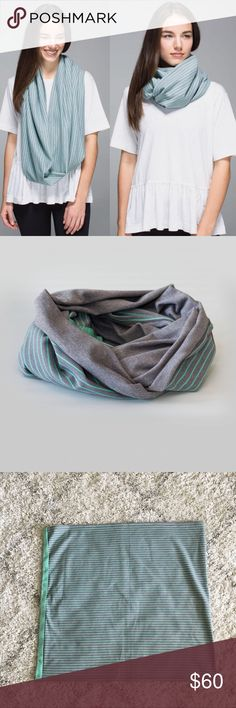 🍋 Lululemon Vinyasa Scarf - Rulu Lululemon Vinyasa Scarf in hard to find print: Parallel Stripe Menthol Heathered Slate / Heathered Slate.  ·         Super SOFT and cozy Rulu fabric ·         Customizable: wear as a circle scarf, wrap, shrug, or hood ·         Snaps at either end  Worn at most twice – no stains, holes, or pilling – excellent, pre-owned condition. Bundle & save 💰! Sorry - 🚫 trades! lululemon athletica Accessories Scarves & Wraps