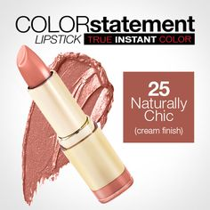 "Love the name ""Naturally chic"" ..Milani Color Statement Lipstick 25 Naturally Chic (Cream)"