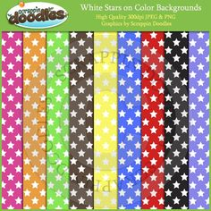 White Stars on Colored Backgrounds Download