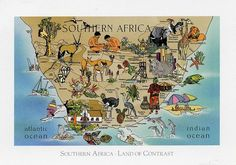 Map postcard from South Africa South Africa Map, Out Of Africa, African Map, African Safari, The Journey Book, Pictorial Maps, Tourist Map, Antique Maps, Map Art