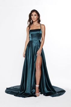 A&N Bianca - Teal Satin Gown with Front Slit and Lace up Back – A&N Luxe Label Source by vellunamari dresses gowns All Black Prom Dresses, Winter Formal Dresses, Cute Prom Dresses, Grad Dresses, Pretty Dresses, Formal Gowns, Summer Dresses, Wedding Dresses, Satin Gown