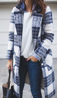 #winter #fashion / fluffy plaid coat