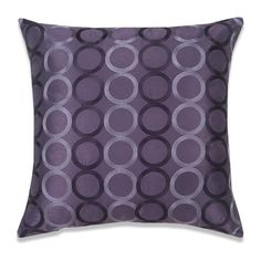 "Euphoria Home Decorative Cushion Cover Pillow Case Shell Purple Faux Silk with Two Tones Chain Circles Rings Embroidery Modern Style 18"" X 18"""