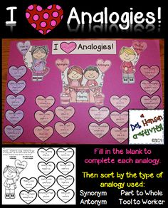 Analogy Craftivity!  This is an engaging activity where your students read several analogies and fill in the missing word. Then, students determine which type of analogy word relationship was used: synonym, antonym, part to whole, tool to worker.   The finished products make a unique bulletin board or fun school hallway display! $