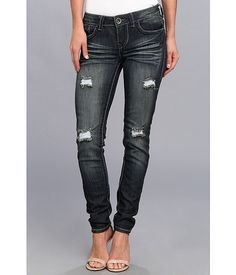 dollhouse Double Stitched 5 Pocket Skinny in Joplin Wash