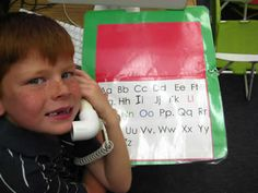 """""""Let's Call Up the ABC's"""" - Attach phonics phone to laminated folder with spiral cord; children follow letters with finger and practice ABC's"""