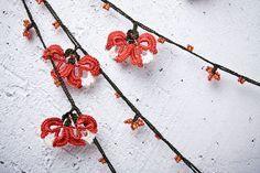 "turkish lace - needle lace - crochet - oya necklace - 132.67"" - free worldwide shipment with UPS - mekiye-007. $44.00, via Etsy."
