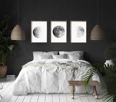 Moon Phase Prints Set of 3 Lunar Phases Black and White Wall art Minimalist Post. - Moon Phase Prints Set of 3 Lunar Phases Black and White Wall art Minimalist Posters Night Sky Conste - Contemporary Bedroom, Modern Bedroom, Modern Wall, Contemporary Art, Bedroom Romantic, Bedroom Rustic, Industrial Bedroom Design, Bedroom Classic, Bedroom Simple