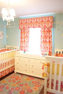 "Two Scoops For Me!: Two Cribs? Exactly. Milly & Clarabelle's Nursery... Curtain fabric is Waverly brand, ""One Wish"" from Fabric.com."