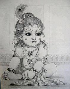 🕉 The beautiful world of Hinduism 🕉 🌷Jai Shri Radhe-Krishna 🌷 Pintura Ganesha, Arte Ganesha, Arte Krishna, Krishna Leela, Krishna Hindu, Girl Drawing Sketches, Art Drawings Sketches Simple, Sketch Art, Abstract Pencil Drawings