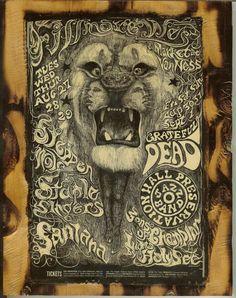 Santana, Grateful Dead, Steppenwolf - Fillmore West Concert Poster - Wooden Plaque