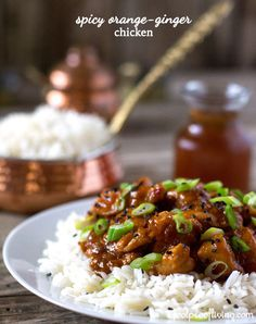 """An easy to make homemade """"Mandarin Chicken"""" like recipe. Spicy Orange-Ginger Chicken. Who needs a Chinese takeout place when you can make it in your own kitchen? #chinesefoodathome #chicken"""