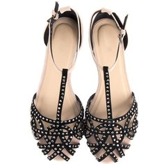 Jeweled Netted Flat Sandals - 2020AVE (360 MXN) ❤ liked on Polyvore featuring shoes, sandals, flats, sapatos, zapatos, jeweled flat shoes, jewel flats, flat pumps, jewel sandals and flat heel shoes