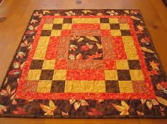 Quilted Square Table Topper Fall Color
