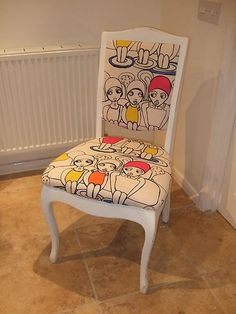 Reupholster chairs in different retro material so everyone has a different style to sit on.