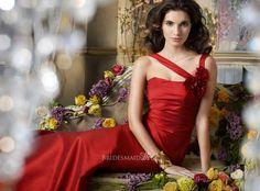 cranberry a-line long bridesmaid dress with flower asymmetrical straps