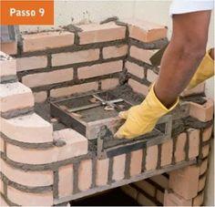 CONSTRUTORA SOUSA: Churrasqueira de tijolos, em 22 passos. Barbecue, Backyard Kitchen, Rocket Stoves, Autocad, Grilling, House Design, Wood, Outdoor Decor, Crafts