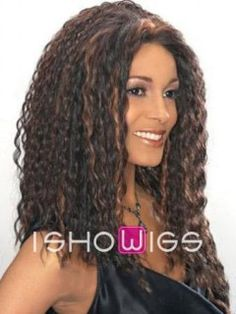 Wow! This long afro look so fashion forward. It features small cascading curls all over and lace front cap construction which gives the most natural look of the hairline.