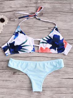$12.99 Print Cut Out Halter Bikini Set BLUE: Bikinis | ZAFUL