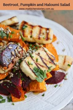 Beetroot, pumpkin haloumi salad, is delicious and looks just as impressive as a restaurant dish. It has enough gorgeous ingredients to make everyone happy Healthy Cooking, Healthy Eating, Cooking Recipes, Halloumi, Pumpkin Salad, Pumpkin And Beetroot Salad, Beetroot Recipes, Vegetarian Recipes, Gourmet