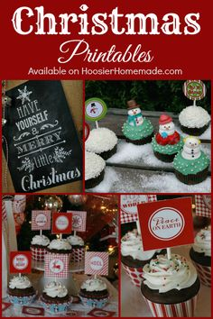FREE Christmas Printables including Cupcake Toppers, Chalkboard Prints and Gift Tags! Pin to your Christmas Board!