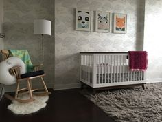 Adorable modern nursery featuring Daydream (Pearl) wallpaper.