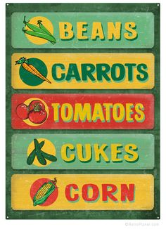 image of Farmstand Metal Sign Veggies