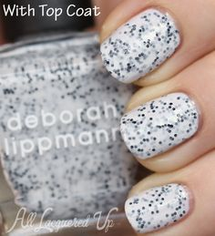 Deborah Lippmann Polka Dots & Moonbeams speckled nail polish swatch with top coat from the Staccato collection