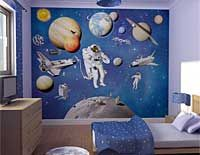 Fun Kid's Space Themed Bedroom Design Ideas. Find and save ideas about Space theme bedroom in this article. Boys Space Bedroom, Outer Space Bedroom, Boys Room Decor, Boy Room, Child's Room, Robot Bedroom, Boy Bedrooms, Modern Bedrooms, Basement Bedrooms