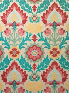 Fibre Naturelle -  Rio Fabric Collection - Fun ornate floral designs printed in bright turquoise, red, dusky pink, light yellow and light green on beige fabric
