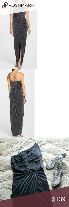 """30% OFF BUNDLES  GORGEOUS AIDAN GOWN Absolutely stunning one shoulder metallic knit gown from Aidan Mattox, perfect for any special occasions. Beautifully designed, asymmetrically draped, this gorgeous gown scintillates with allover tinsel amplified by forgiving gathers. Comes with concealed back zipper closure, built in bra, lined.  Approx. measurements: length from shoulder to hem 60"""". Bust 32"""", waist 29"""". Aidan Mattox Dresses One Shoulder"""