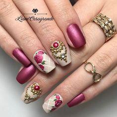 Rhinestone Nails, Bling Nails, Beautiful Nail Designs, Beautiful Nail Art, French Nails, Love Nails, Pretty Nails, Nagel Bling, Gel Nagel Design