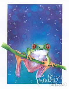 """Tree Frog"" Aug 2015. Join the Marker Painting Basics class for monthly coloring lessons. Perfect for beginner level Copic colorers and shy artists. 