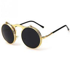 fe737f23cb 2018 New Vintage Steampunk Sunglasses round Designer steam punk Metal  OCULOS de sol women Sunglass Men Retro CIRCLE SUN GLASSES