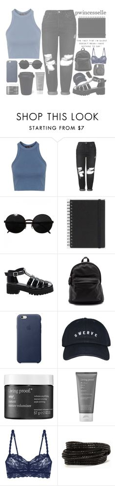 """my fashion style has definitely evolved to a more grungier side"" by pwincesselle ❤ liked on Polyvore featuring Topshop, Versace, Muji, ASOS, Living Proof, Cosabella and Pieces"