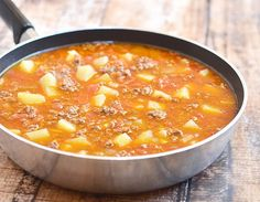 Picadillo with Potatoes is a Filipino dish made of ground beef, tomatoes and potatoes