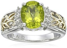 ON SALE now at http://JewelryDealsNow.com/?a=B0043RTU48 : Sterling Silver and 14k Yellow Gold Oval Peridot and White Topaz Ring