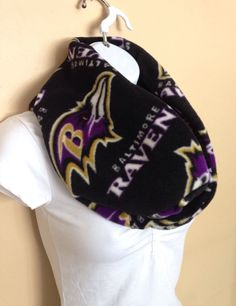 New to Sewdivine77 on Etsy: Baltimore Ravens infinity fleece scarf (15.00 USD)