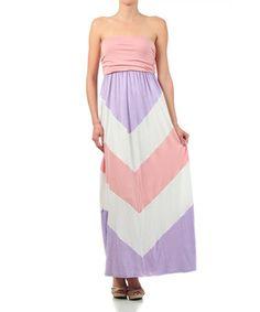 Another great find on #zulily! Lilac & Peach Chevron Strapless Maxi Dress #zulilyfinds